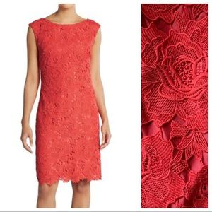 Vera Wang Embroidered Floral Lace Dress